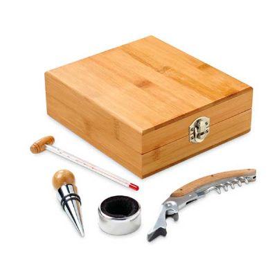 Job Promocional - Kit de vinho em bambu
