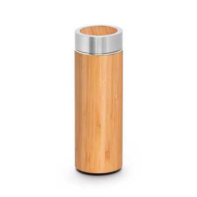 Garrafa térmica em aço inox e acabamento em bambu