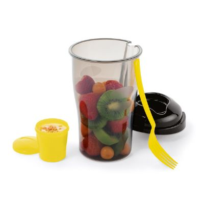 - Copo para salada com garfo e recipiente para molhos. Capacidade 850 ml