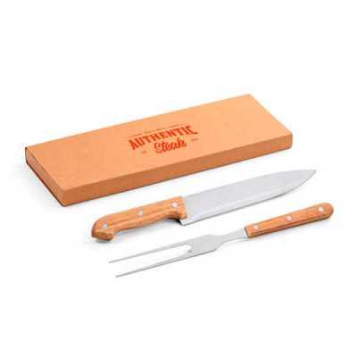job-promocional - Kit de churrasco em Inox e bambu