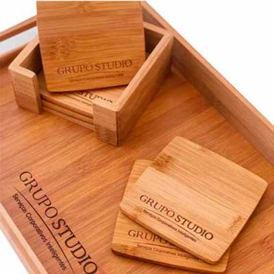 Conjunto de porta copos em bambu com suporte personalizado