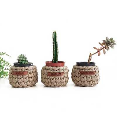 YepUp Presentes Criativos - Kit Gratidão 3 cestos em fio de malha com etiqueta em couro ecológico