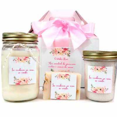 KIT SPA com sais de Banho, vela aromática e sabonete natural