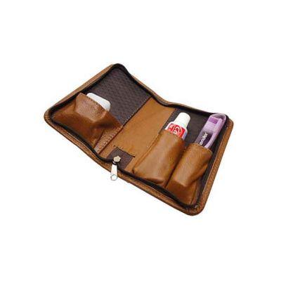 - Kit higiene em couro ou sintético com divisões para escova, creme e fio dental, fechamento com zíper.  *Não incluso itens de higiene.  Dimensões: 21 x...