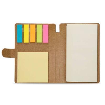 mexerica-brindes - Bloco de anotações ecológico, material kraft. Possui uma trava na própria capa, cinco blocos autocolantes coloridos com aproximadamente 25 folhinhas,...