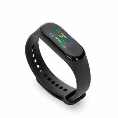 3zero Brindes - Pulseira inteligente M3. O smartwatch é um relógio fit com sensor que monitora suas atividades do dia a dia para o controle de sua saúde, tem funções...
