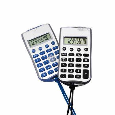 Calculadora plástica retangular de 8 dígitos prata com cordão e acessórios coloridos, necessita de 1 bateria AG10 para funcionamento(acompanha).  Altu... - 3zero Brindes