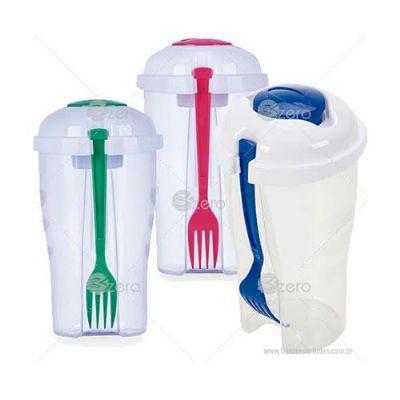 3Zero Brindes - Copo salada 850ml com garfo e suporte para molho