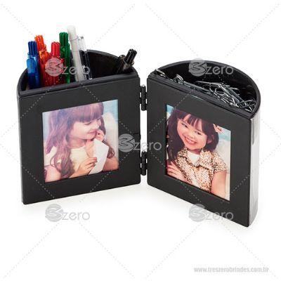 3zero Brindes - Porta caneta com porta-fotos
