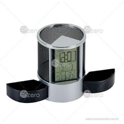 3zero-brindes - Porta caneta com relógio