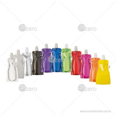 3Zero Brindes - Squeeze dobrável de plástico.