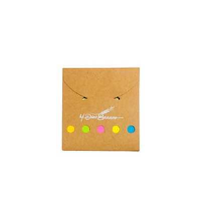 Mini bloco ecológico (KRAFT) de anotação com sticky notes, possui lacre na própria capa, bloco amarelo cm 25 folhas. - GiftWay