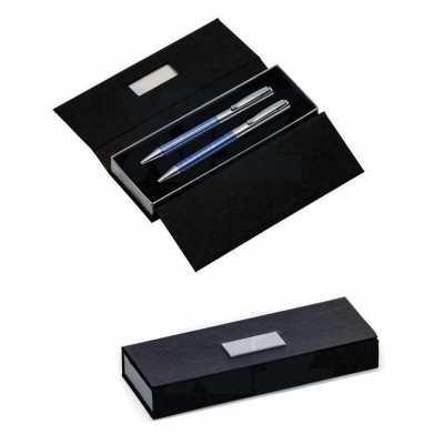 Kit caneta e lapiseira de metal em estojo de papelão - GiftWay