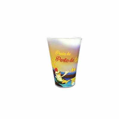 - Copo promocional injetado em polipropileno com decoração da praia de Porto de Galinhas com IN MOLD LABEL 650ml
