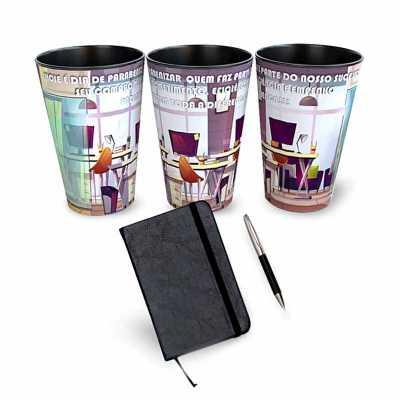 Kit Dia da Secretária com copos, caderneta e caneta. - GiftWay