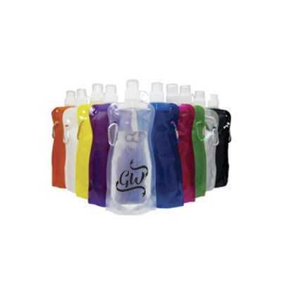 Squeeze dobrável de plástico de 480 ml com mosquetão.. - GiftWay