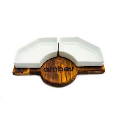 Legno Artes - Petisqueira personalizada com louça para petiscos - Modelo 2