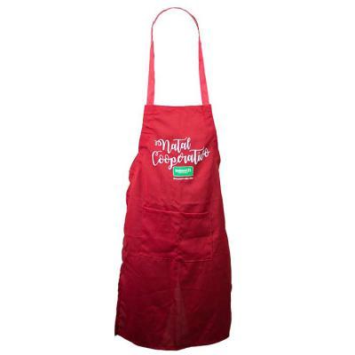 SP Uniformes - Avental vermelho em oxford com silk, regulagem traseira e bolso