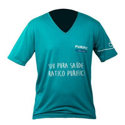 Camiseta gola V, malha PV com silk - SP Uniformes