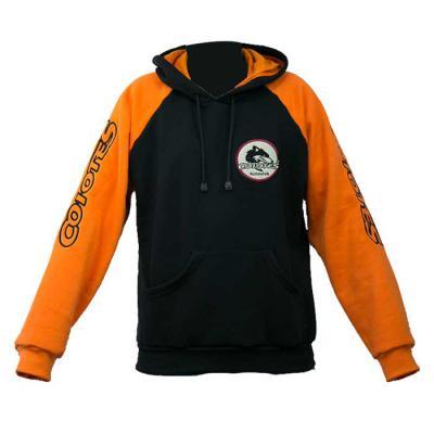 SP Uniformes - Blusa de moletom flanelada com capuz e regulagem e bordado, cor preta com mangas laranjada