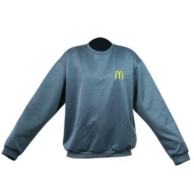 SP Uniformes - Blusa de moletom em helanquinha, gola redonda com bordado, na cor chumbo