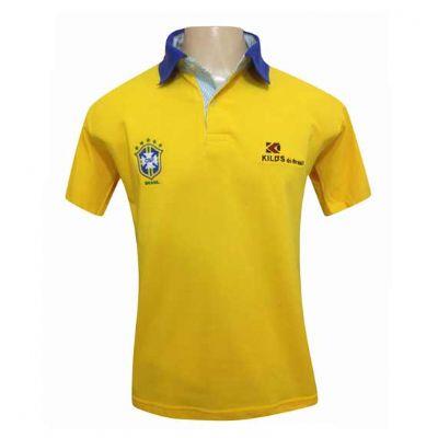Camiseta gola pólo cor amarelo