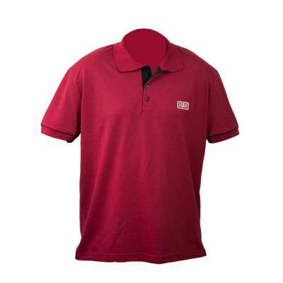 sputnik-uniformes - Camiseta gola pólo, malha Piquet PA (50% algodão / 50%poliéster), cor vermelho escuro