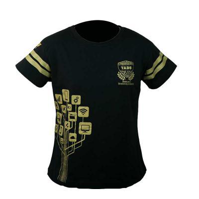 SP Uniformes - Camiseta gola redonda, malha pv (67% poliéster e 33% viscose) na cor preta com estampa
