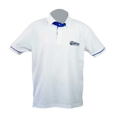 SP Uniformes - Camisa gola pólo, malha Piquet PA (50% algodão / 50%poliéster), cor branca com bordado