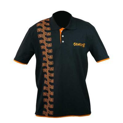 sputnik-uniformes - Camisa gola pólo, malha Piquet PA (50% algodão / 50%poliéster) na cor preta, com silk e bordado.