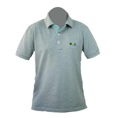 Camisa gola pólo, malha Piquet PA (50% algodão / 50%poliéster), na cor cinza mescla com gola personalizada