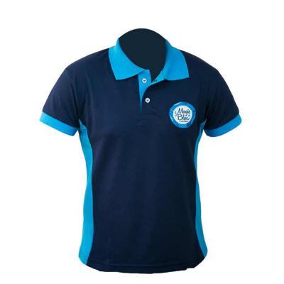 SP Uniformes - Camisa gola pólo, malha Piquet PA (50% algodão / 50%poliéster), com bordado e recorte na lateral