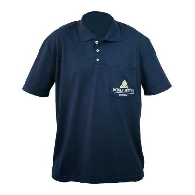 SP Uniformes - Camiseta gola pólo, malha Piquet PA (50% algodão / 50%poliéster) com bolso na cor azul marinho