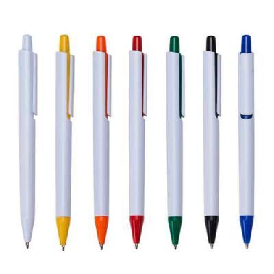 gj-brindes - Caneta plástica promocional branca possui clip com design vazado, acionador e ponteira coloridos. Aciona por clique.  É uma caneta moderna e diferente...