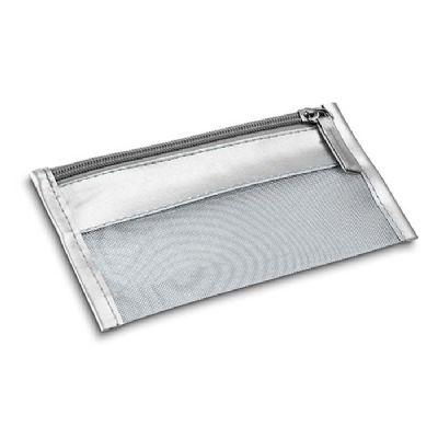 Necessaire Multiuso em PVC e tela na cor prata
