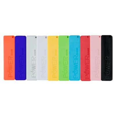 Power bank plástico colorido, parte superior personalizado em relevo POWERbank e verso na cor bra...