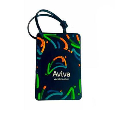 aloha-brindes - Tag de Viagem emborrachado, com gravação em relevo frente e verso em silk ( dados Pessoais ), Fecho em cordão de silicone ou cordão emborrachado.