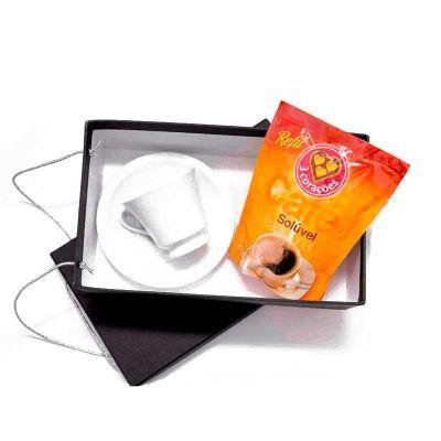 K3 Brindes - Kit Café em caixa de papel duplex com gravação na tampa da caixa