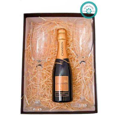 K3 Brindes - Kit Champagne embalado em caixa de papel duplex