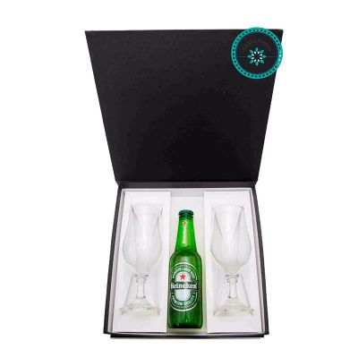 K3 Brindes - Kit Cerveja com 2 taças e 1 cerveja Long Neck