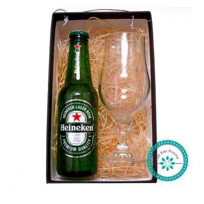 k3-brindes - VKit Cerveja com 1 taça de cerveja e 1 cerveja long neck