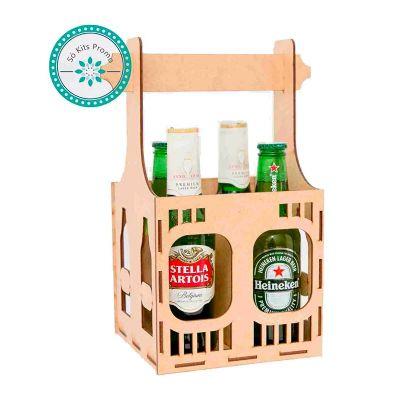 Kit Cerveja com 4 garrafas e engradado em MDF - K3 Brindes