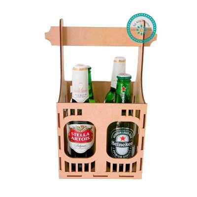 Kit Cerveja com 4 garrafas e engradado em MDF