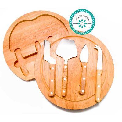 k3-brindes - Kit queijo com 5 peças com tábua de madeira circular