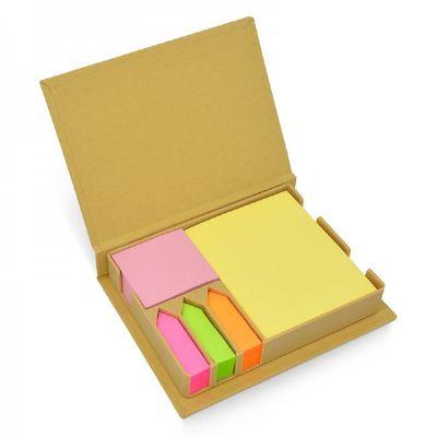 Malu Brindes - Bloco de anotações eco com gravação personalizada na tampa.  Contém: 1 bloco amarelo (7,2 x 7,2 cm) e 5 Blocos coloridos marcadores de páginas.