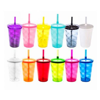 Malu Brindes - Copo de plástico com canudo