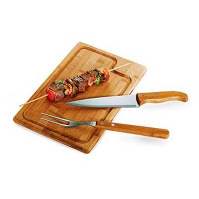 Malu Brindes - Kit churrasco 3 peças bambu/aço inox personalizado