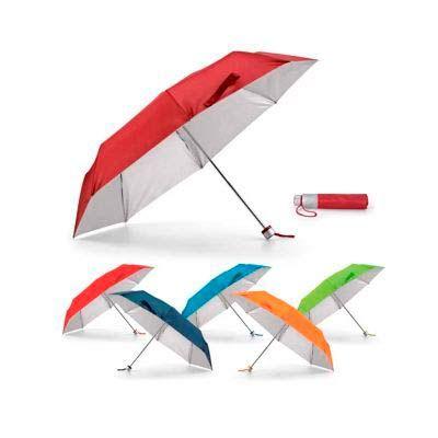 Malu Brindes - Guarda-chuva em poliéster, dobrável em 3 secções possui bolsa personalizável para guardar após o uso.  Gravação Silk.