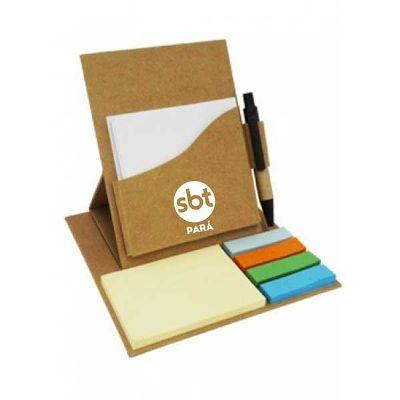 spaceluz-brindes - Bloco de anotações ecológico dobrável com sticky notes e caneta