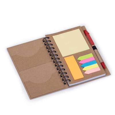 Spaceluz Brindes - Bloco de anotações ecológico com caneta e sticky notes